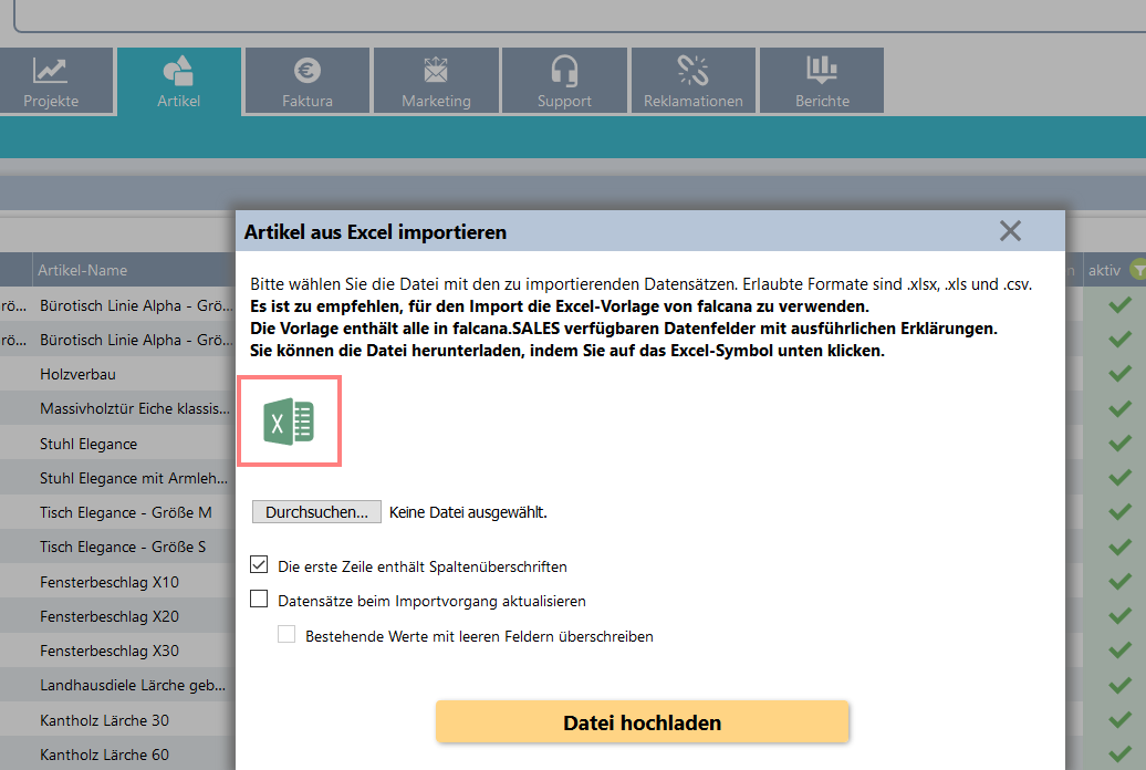 Artikel Anlegenartikelimport Aus Excel Bzw Csv Falcana Hilfe