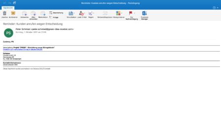 Lassen Sie sich per E-Mail oder auf Ihren Mobilgeräten an zu erledigende Aufgaben erinnern. Kontaktdetails werden mitgeliefert - für ein schnelles Abarbeiten Ihrer Aufgaben.