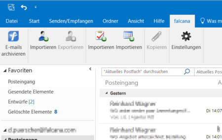 Das Outlook-Plugin für falcana.SALES.