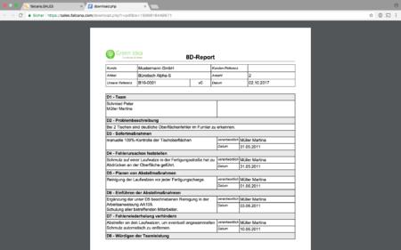Verschicken Sie den 8D-Report als PDF direkt aus der Software an die jeweiligen Ansprechpersonen. Ebenso weisen Sie Aufgaben gleich direkt aus der Software, schriftlich und nachvollziehbar, der zuständigen Person zu.
